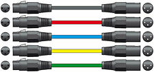 5 x 3M Male to Female XLR Mic Leads - Balanced Microphone Cable Various Colours