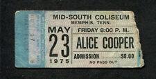 1975 Alice Cooper unused full concert ticket Memphis TN Welcome To My Nightmare