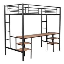 Metal Twin Loft Bunk Bed Frame With Under Bed Desk Bedroom Furniture