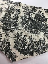 Waverly Country Life Black Cream Toile French Country 2 Ascot Valances 53""