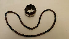 """Wooden Necklace 18"""" with Plastic Brown Elasticated Bracelet costume jewellery"""