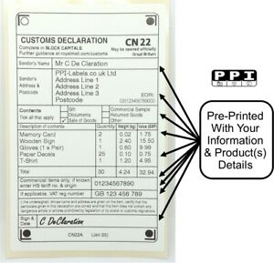 250 x CN22 A PERSONALISED CUSTOMS DECLARATION LABELS STICKERS & EORI CN22A-ROLL