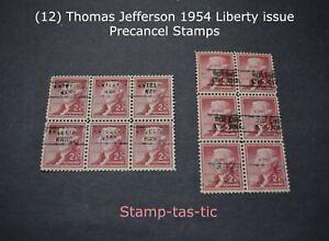 *(12) U.S. #1033 2¢ Thomas Jefferson Precancel Stamps, FU, NG*