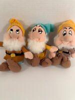 "Happy Sneezy Bashful Dwarfs 8"" Bean Plush Snow White Disney"