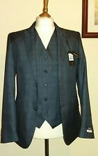 "GIANNI FERAUD 3 Piece Navy Check Tailored Suit Size 40R (Waist 36"" L32)"