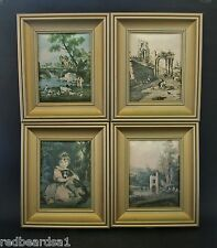 Set 4 Antique Reproduction Satin Fabric Prints Gold Timber Frame 17 x14 cms
