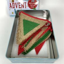 Bohemian Style Christmas Advent Countdown Pocketed Flags Banner Garland