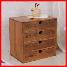 French Provincial Timber Hanging Mounted Chest of 4 Drawers Desktop Storage A220