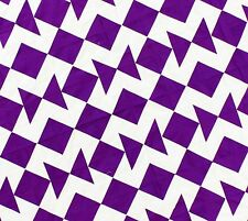 Graphic Colored Patchwork Imperial Purple Blocks and Geese Quilt Top - Queen