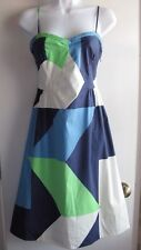 MAEVE ANTHROPOLOGIE NWT $118 GEOMETRIC BLUE LIME SUMMER PARTY DRESS SZ 4
