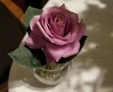 Artificial Silk Flower Mauve Rose scented in Glass  W/Artificial Water