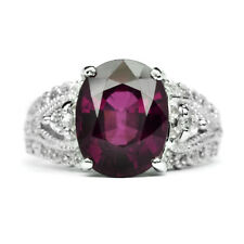 6.70ct Natural Purple Rhodolite Garnet Ring With Zircon in 925 Sterling Silver