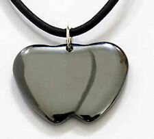 New Leather Necklace/Choker Hematite HEARTS TOGETHER