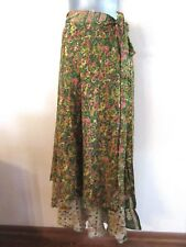 NEW Wrap Hippie Paisley Green Boho Long Skirt Layered Dress NWOT 8 10 12 14