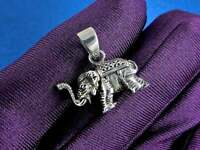 Sterling Silver Thai Elephant Pendant Necklace Solid Silver 925 Stamped Jewelry