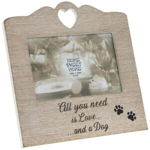 Dog 4x6 Wooden Heart Photo Frame 4x6 Natural Wood