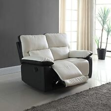Modern Living Room Two Tone Bonded Leather Oversize Recliner Loveseat Sofa