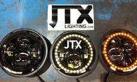 "JTX 7"" Blacked Out Halo Headlight White Mini Cooper S Clubman Moke Morris Minor"