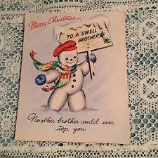 Vintage Greèting Card Christmas Snowman Scarf Brother Hallmark