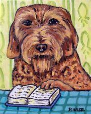 Basset Fauve de Bretagne READING a book picture dog art  abstract folk pop  GLOS