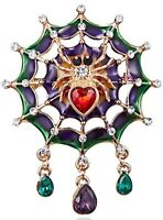 Spider in Enameled Web with Clear and Red Crystals Vintage Gold Pin Brooch D-895