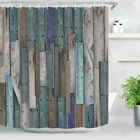 Wood Style Pattern Shower Curtain Waterproof Bathroom Curtain with Hooks