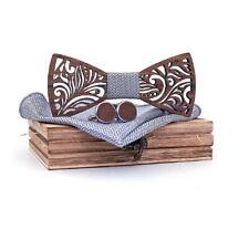 Nœud papillon boisSculpté fait main - Neuf sous blister - Marron et Gris