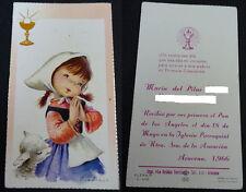 ESTAMPA HOLY CARD PRIMERA COMUNION VIRGEN ASUNCION ARACENA  AÑO 1966   CC1522