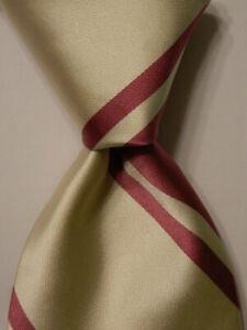 ROBERT TALBOTT Best of Class Men's 100% Silk Necktie USA STRIPED Mauve/Ivory NWD