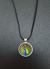 "Peacock Pendant On a 18"" Black Cord Necklace Ideal Birthday Gift N111"