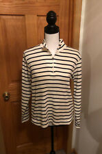 L.L Bean Size LP Blue & White w/Stripes Long Sleeve 1/4 Zip Pullover Sweater