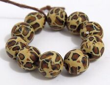 10 pcs, Leopard print beads, DIY Crafts, round clay beads, animal print beads