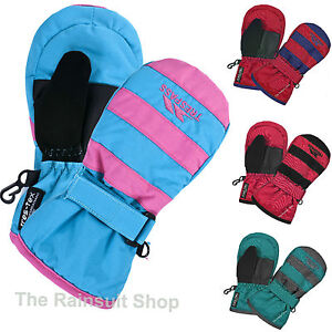 TRESPASS SANTOS WINTER KIDS SKI MITTENS GLOVES WATERPROOF PADDED CHILDREN'S 2-7Y