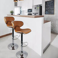 New Set Of 2 Bar Stools Pub Dining Counter Chair Leather Adjustable Swivel USA