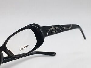 PRADA Vpr 101.4oz Black Cat Eye Super Classic Design Logo Rope Look 50-16 Small