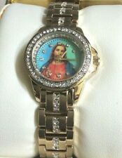 Elgin Women's Crystal Watch Round Jesus Dial On Gold Crystal Link Band New!