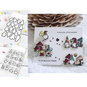 Little Gnome Agenda Clear Stamps with Cutting Die Diy Scrapbooking Paper Cards
