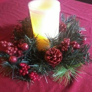 Winter Lane Led Flameless Candle xmas centerpiece  w/ timer & batteries 12x12x6