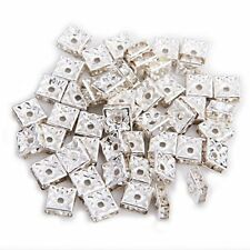50 Silver Square Rhinestone Rondelle Spacer Beads 8mm Hot I5D3 O6F7