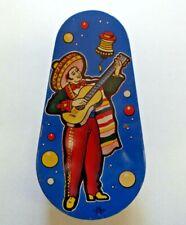 Vintage U.S. Metal Toy Mfg Co Tin Litho Noisemaker Mexican Sombrero Guitar Motif