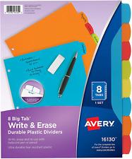Avery Big Tab Write Erase Durable Plastic Dividers 8 Multicolor Tabs 1 Set