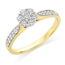 Multi-Tone Gold 0.35Ct Round Brilliant Diamond Cluster Engagement Ring