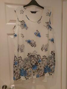 Ladies Yours Clothing Vest Top Chiffon White Blue Flowers Size 18 Plus Size