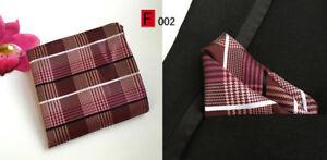 Pocket Square Handkerchief Hanky Blue Red Pink Purple Orange Stripe 100% Silk
