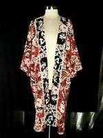 BOBEAU Plus Size 1X Jacket Cardigan Top Red Pink White Black Floral 3/4th Sleeve