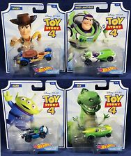 4 Pixar TOY STORY 4 Hot Wheels CHARACTER CARS - Woody BUZZ LIGHTYEAR Alien REX