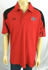 Under Armour Red & Black Vented Polo Shirt Sf Logo Mens Xl Ss Polyester Spandex