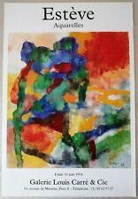 """ESTEVE MAURICE affiche originale """"AQUARELLES""""  exposition 1994"""
