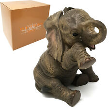 Sitting Grey Elephant Decorative Ornament with Teardrop ~ /'Missing You/' LP12860