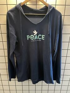 """Life is Good Women's Navy """"Peace"""" Hoodie Long Sleeve Size L"""